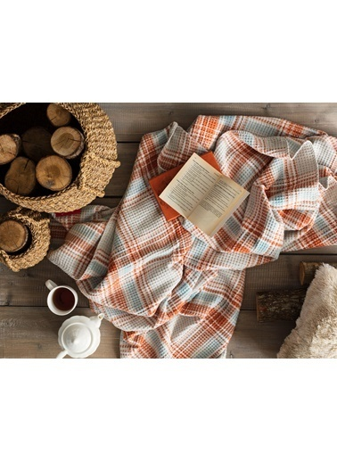 Madame Coco Tek Kişilik Ekoseli Pamuklu Battaniye - Mavi / Turuncu Oranj